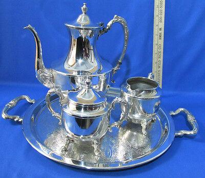 Vintage Silver on Copper Silverplate Tea Set Serving Tray Teapot Creamer Sugar