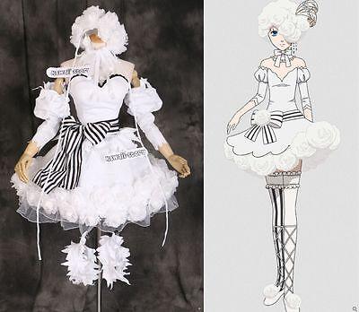 H-3316 Black Butler Ciel Doll Circus Rosen Hut Cosplay Kleid Kostüm Weiß - Doll Kleid Kostüm