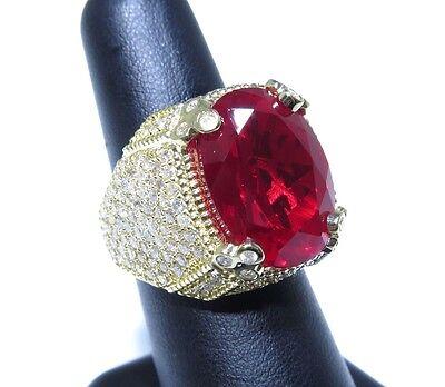 (Mens 14k Yellow Gold Flashy Red Center Stone 5.00ct White Diamond Big Royal Ring)