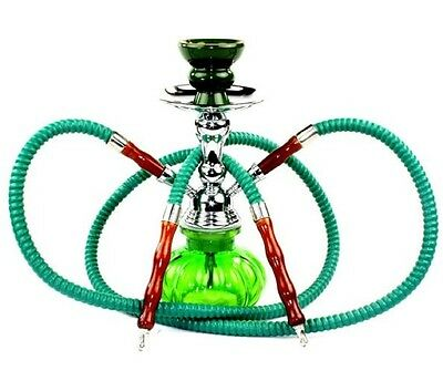 Hookah Shisha Tobacco Pipe Narghile Set Smoking Kit Water Glass 2 Hose Party