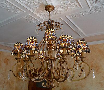 Tiffany Tiffanylampe Hängelampe Deckenlampe 12 Arme Leuchter Lampe TC75