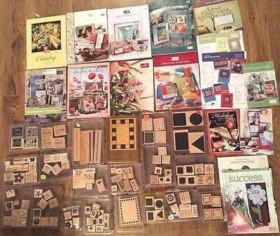 lot 100+ RUBBER STAMPS idea books catalogs 20 stampin up sets shapes sentiments