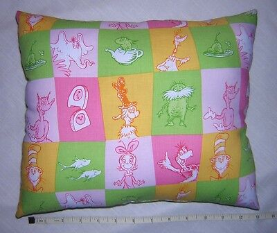 New * Dr. Seuss * Characters * COTTON Fabric Pillow      Handmade in the U.S.A. - Seuss Characters