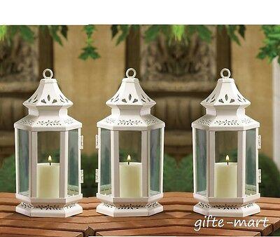 3 White colonial western shabby whitewashed Lantern Candle holder wedding table