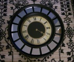 Round Black Wall Clock Roman Numerals & Mirrors Battery Operated- Excellent!