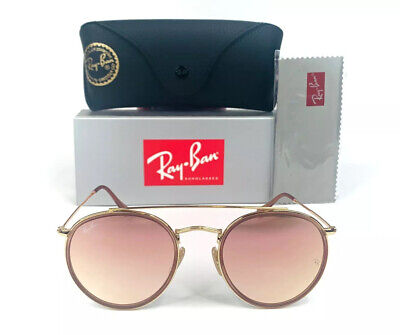 NEW Ray-Ban Round Double Bridge RB3647 001/7O Gold Frame Copper Sunglasses 51mm