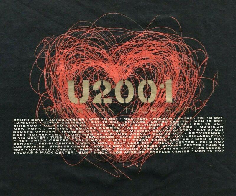 U2 Elevation Tour 2001 Concert Shirt Mens Large U2 band dark blue dates