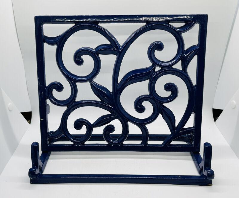 "Heavy Ornate Metal Bookstand Holds Cookbooks, Tablets 11x10"" Blue"