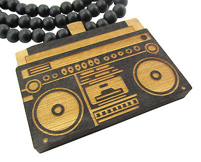 WOODEN OLD SCHOOL BOOMBOX PENDANT PIECE CHAIN NECKLACE GOOD WOOD RETRO HIP HOP
