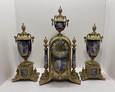Vintage Ornate Imperial Italian Mantle 3 Piece Brass & Porcelain Clock Set