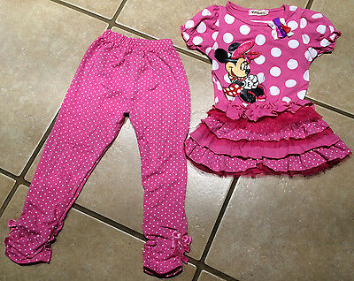 Polka Dot Ruffle Legging - NWT MINNIE MOUSE Pink Ruffle Tunic Legging Polka Dot Bows SIZE 4T THREE LEFT!