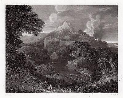 "Stunning 1800s GASPARD POUSSIN Engraving ""Charming Landscape"" SIGNED Framed COA"