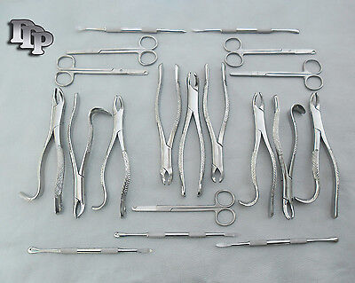 Set Of 19 Pieces Extracting Forceps Elevators Suture Scissors Surgical Dental