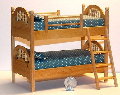 Dollhouse Miniature Bunk Beds Oak Finish 1:12 one inch scale Y57 Dollys Gallery for sale  Danville