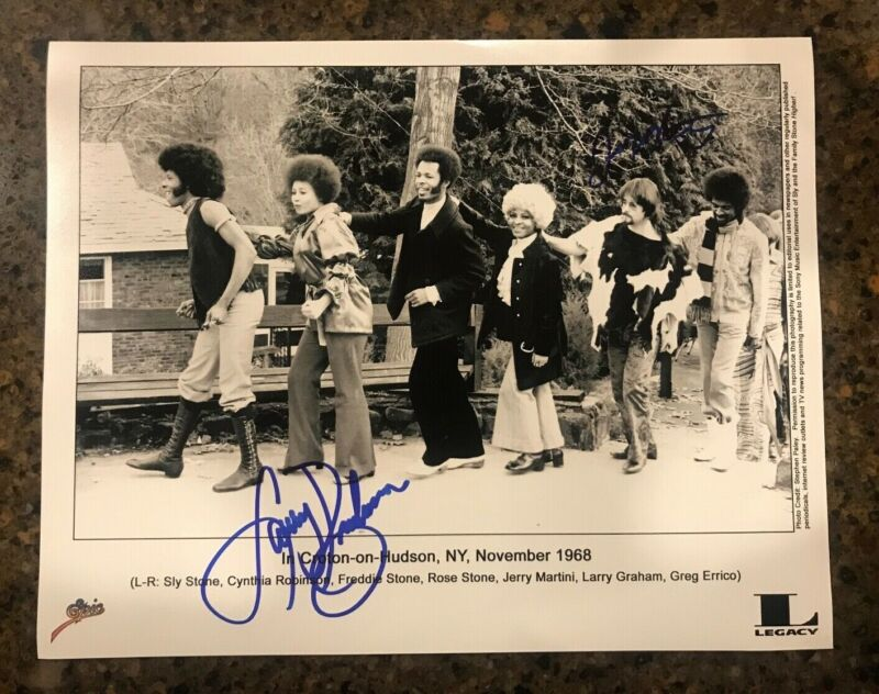 * LARRY GRAHAM & JERRY MARTINI * signed 11x14 photo * SLY & THE FAMILY STONE * 4