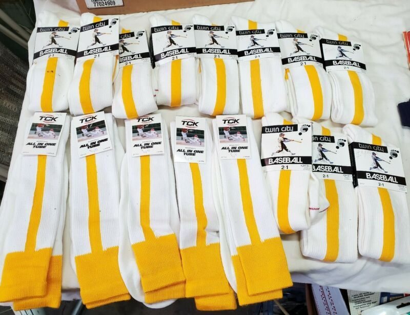 16 Pair lot Twin City 2 In 1 Baseball Stirrup Socks R12 gold white Size 9 to 13