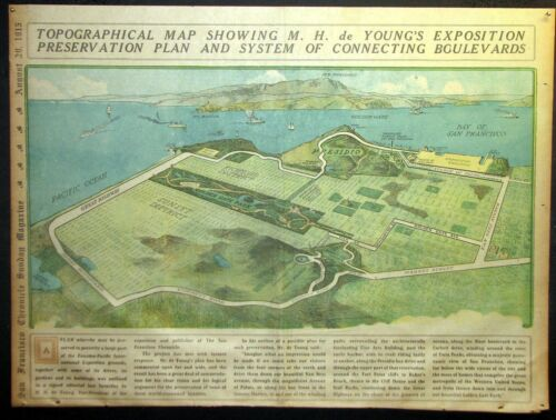 1915 San Francisco Newspaper Page - Panama Pacific Exposition Color Map