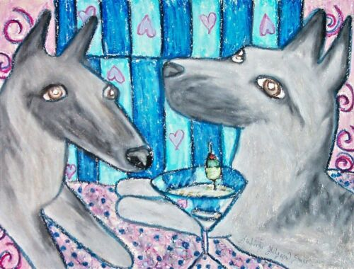 BELGIAN MALINOIS drinking a Martini 11x14 Art Print Collectible Signed by Artist