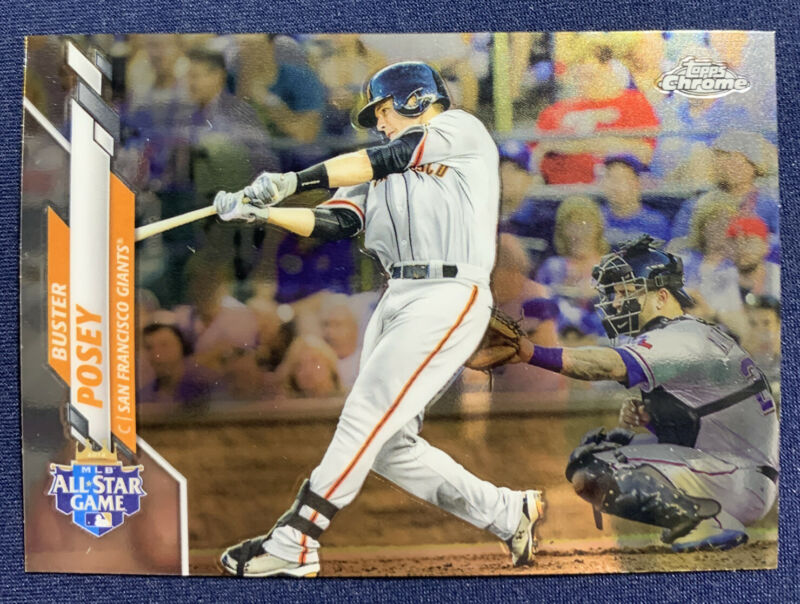 Buster Posey 2020 Topps Chrome Base set Baseball Card Prism Refractor San Francisco Giants Star Player