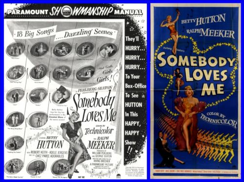 SOMEBODY LOVES ME pressbook AND HUGE 3 SHEET POSTER, Betty Hutton, Ralph Meeker