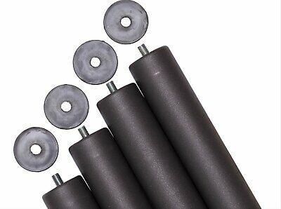 Pack 4 patas de somier 30 cm. cilindricas metalicas con rosca.