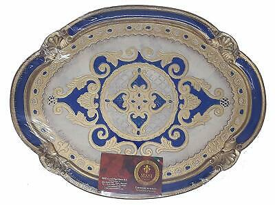 Florentine Oval Wooden Tray - Hand Carved & Painted, Made in Italy