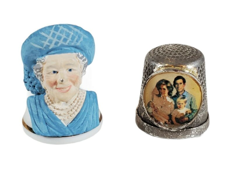 Lot 2 Vintage Royal Family Thimbles Queen Mother Princess Di & Family Sterling?