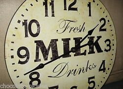 MILK Wood Wall CLOCK*Farmhouse French Country Kitchen*Primitive Dairy Decor*15