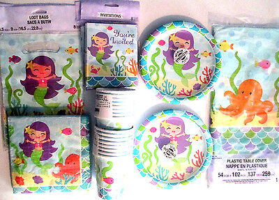 MERMAID FRIENDS - Birthday Party Supply DELUXE Kit w/ Loot Bags & Invitations