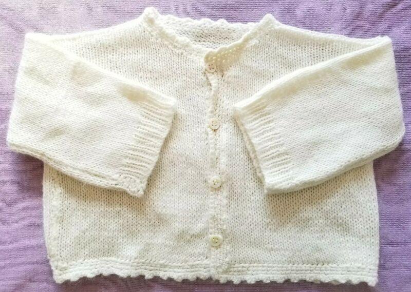 Baby Girl Cardigan Sweater Ivory Hand Knit Crotchet Ruffled Edges Vintage 1970