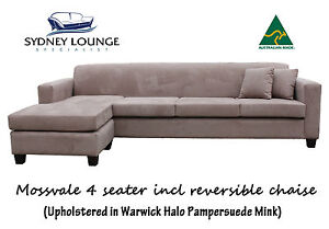 Brand New - AUS MADE Mossvale (Warwick Mink) 4 seater incl Chaise Sofa Lounge