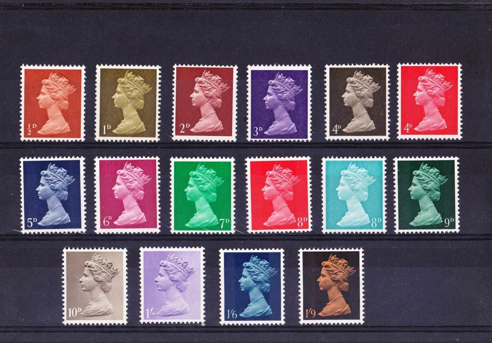 Купить GB 1967 Machins Basic Stamps Set~(16)~Unmounted Mint~UK Seller
