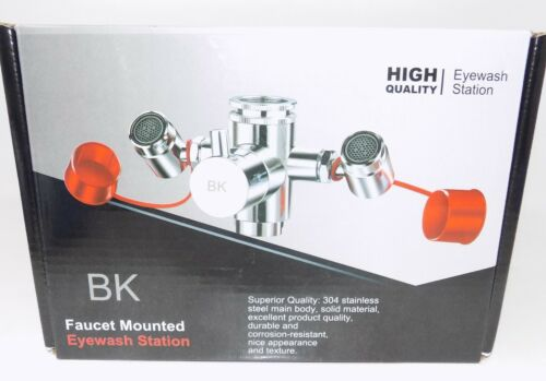 BK Eye Wash Station Emergency Eyewash Station Faucet Mounted 4 Sink Attachment