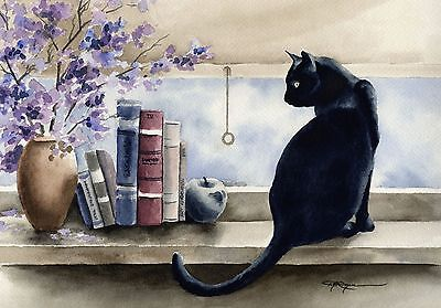 BLACK CAT Watercolor Painting 8 x 10 Art Print Signed by Artist DJR