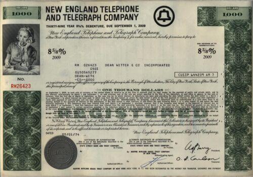 $1,000 New England Telephone & Telegraph Company Bond Stock Certificate