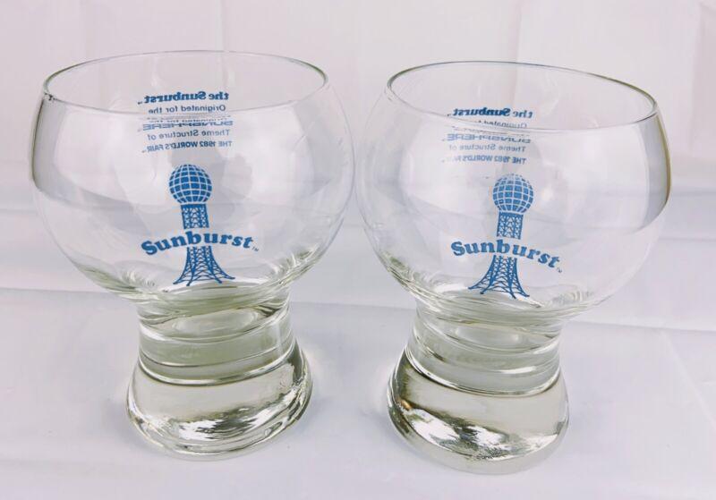 Vintage 1982 Worlds Fair SUNBURST Sunsphere Collectible Drinking Glasses Set/2