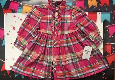 Ralph Lauren Baby Girl's Plaid Tab Sleeve Shirtdress 9M NWT