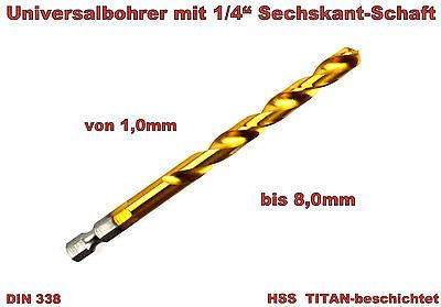 Bit-bohrer (Spiralbohrer Sechskantbohrer  Bitbohrer Metallborer 1/4Bit 1,0mm-8,0mm HSS Titan)