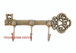 Cast Iron Key Holder Coat Hanger Wall Mounted 3 Hooks Skeleton Key Shape Rustic