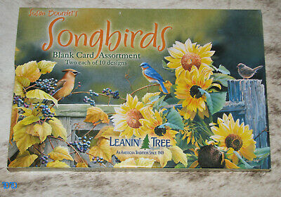 LEANIN TREE Songbirds 20 GREETING CARDS #90634~2 each of 10 designs~Blank Inside Ast Colored Paper