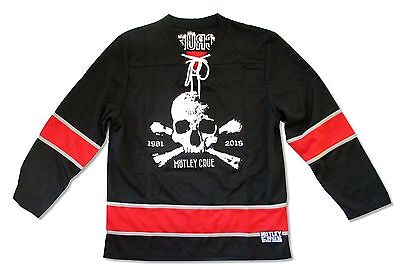 MOTLEY CRUE EMBROIDERED HOCKEY JERSEY SKULL LOGO AND IS DATED 1981-2015 ADULT M