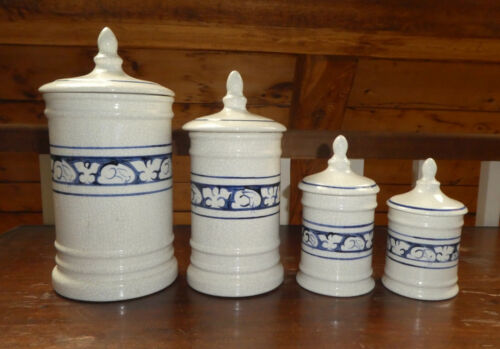EXTREMELY RARE DEDHAM Kitchen Counter Canister Set ~ Full Size 4-pc