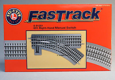 LIONEL FASTRACK 031 RIGHT HAND MANUAL SWITCH o gauge train turnout track 6-81251 (Fastrack Manual Switch)