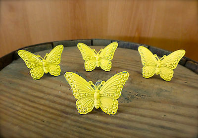 4 YELLOW VINTAGE-STYLE BUTTERFLY DRAWER CABINET PULL HANDLE KNOB garden -