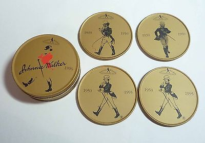 MALAYSIA Beer Mat 4pc Coaster Set JOHNNIE WALKER Whisky 1996 Limited Edition Tin