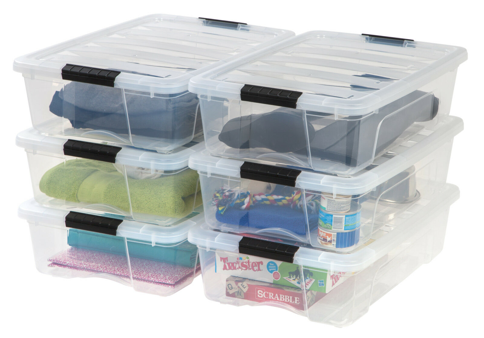 IRIS 26 Quart Stack & Pull Box, Clear, Pack of 1