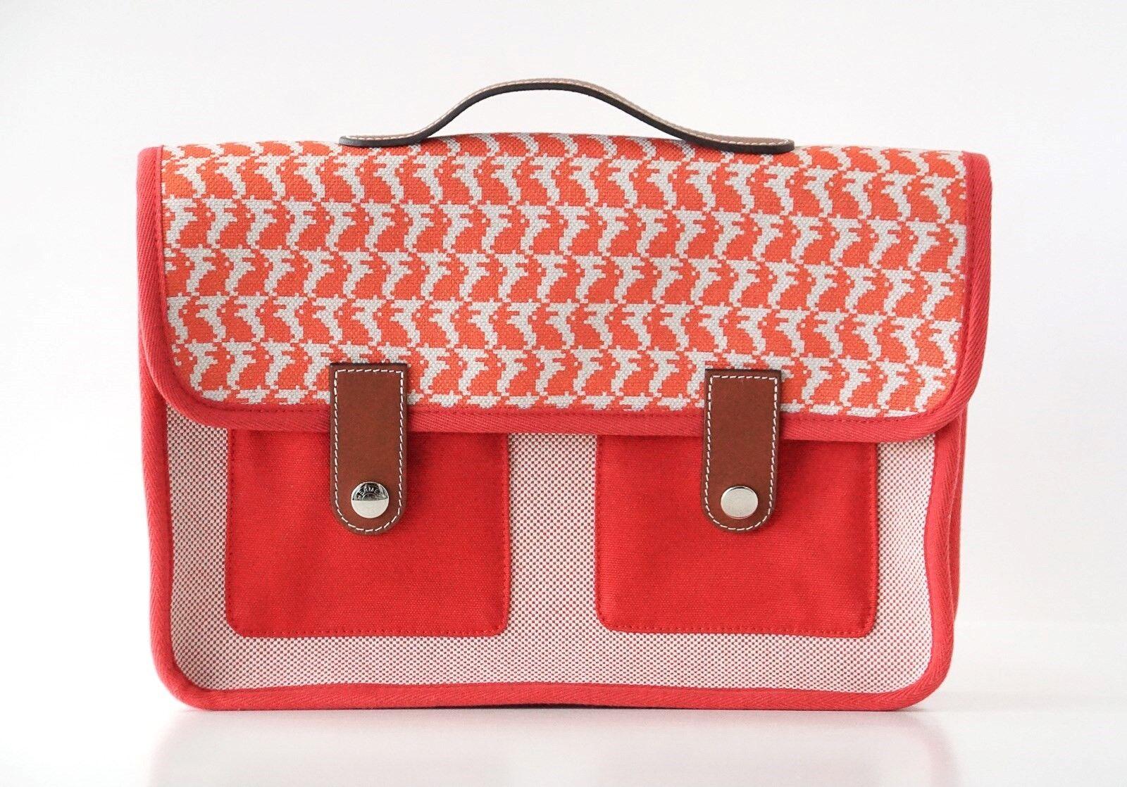 Hermes Bag Animaux Pixel Backpack Printed Red Canvas Ltd