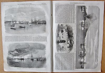 1857 ANTIQUE PRINT -THE WAR WITH CHINA, CANTON, WANTUN, ENGLISH SQUADRON