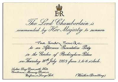 Queen Elizabeth II 1953 Buckingham Palace Invitation