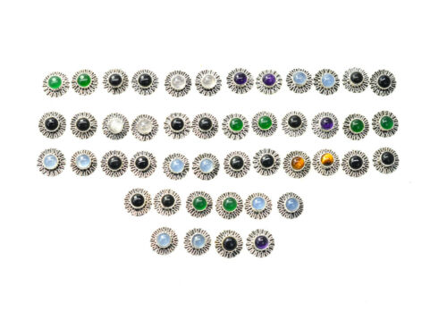 WHOLESALE 23PR 925 SOLID STERLING SILVER BLACK ONYX MIX STONE STUD EARRING LOT